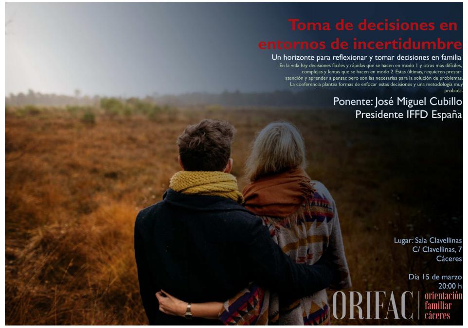 José Miguel Cubillo, presidente de IFFD España, impartirá una conferencia gratuita sobre la toma de decisiones en el matrimonio